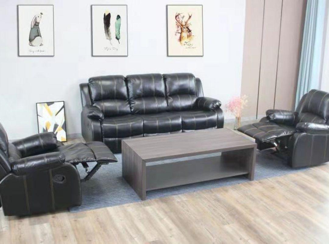 Durham Recliner Lounge Suite | Black (3RR+1R+1R)