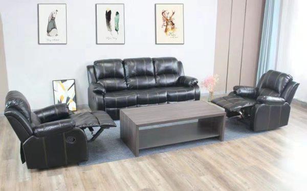 Durham Recliner Lounge Suite | Black | Kwickshop