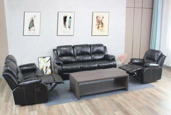 Carmello Recliner Lounge Suite   Black   Kwickshop