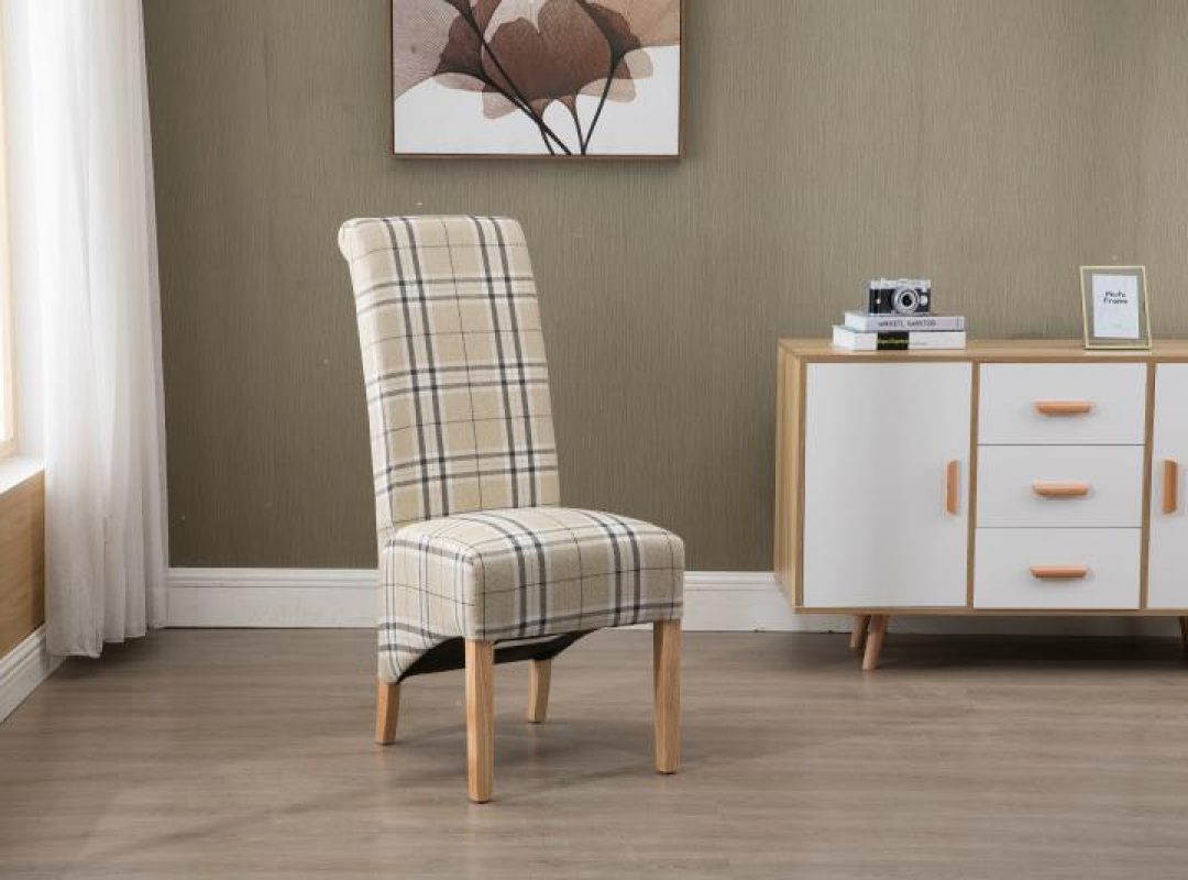 Arcade High Back Checkered Fabric Chair | Set of 2